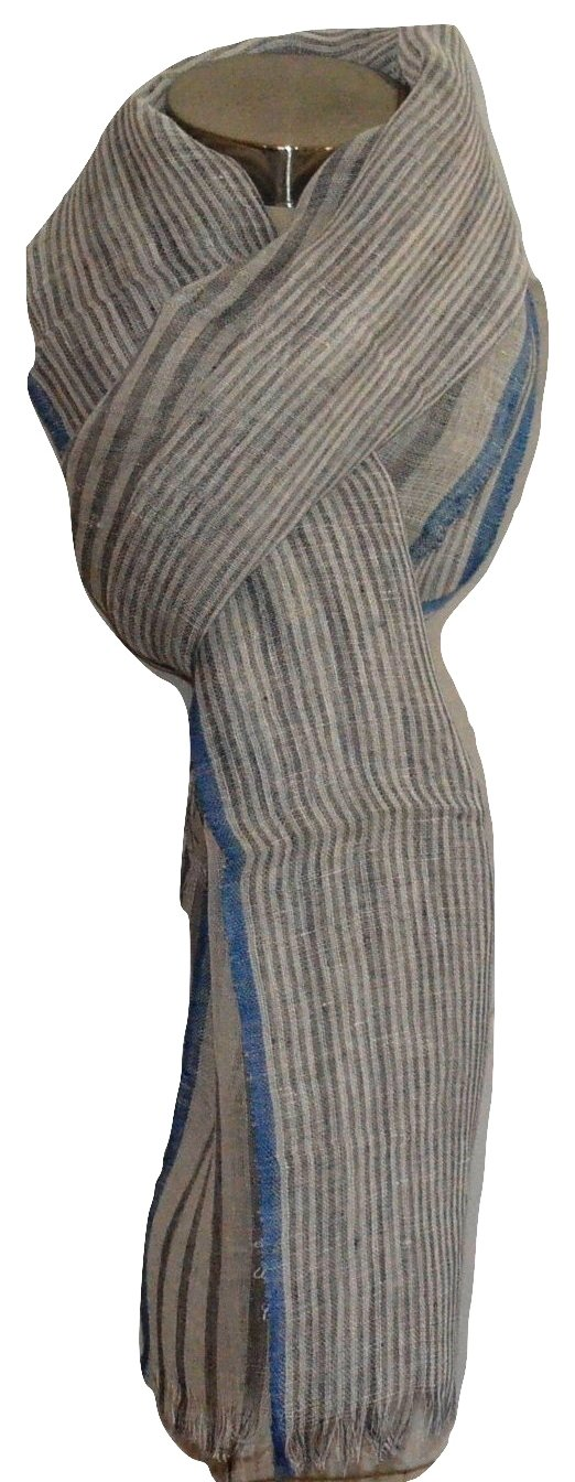 Mad Max Handcrafted, Handwoven Pure Linen Fabric Scarf, Wrap. X436