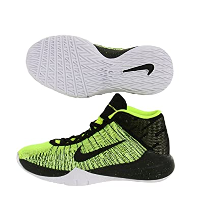 18303ac311bd1 Nike Boy s Zoom Ascention (GS) Basketball Shoe Volt Black White Size 6