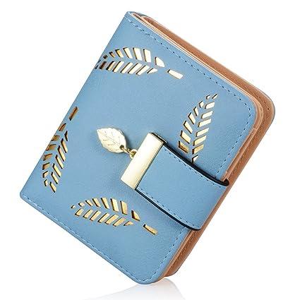 Estampado de Flores Monedero Mujer IHRKleid® Dulce Carteras Chica Señoras Billetera Tarjetas (Azul)
