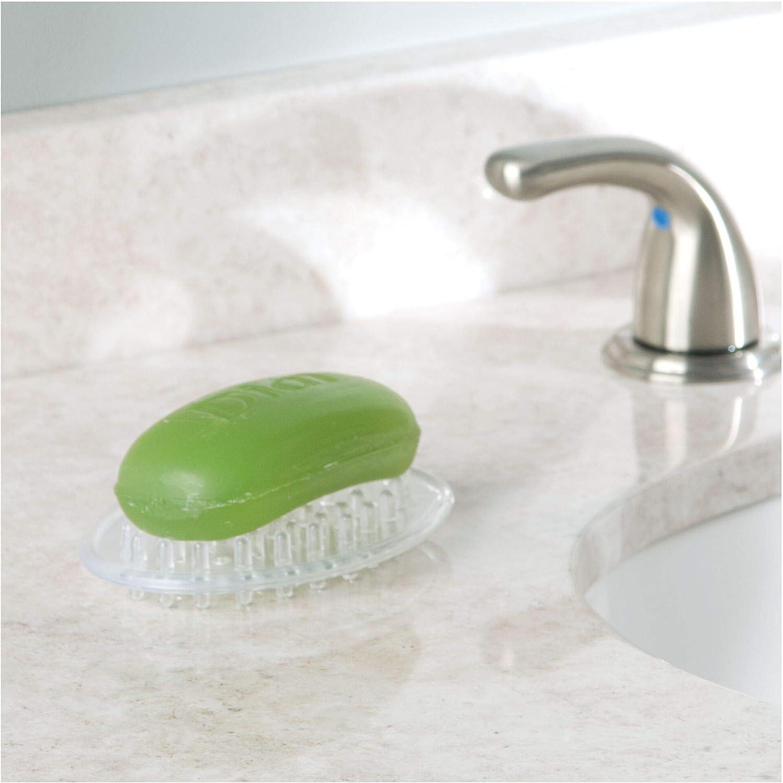 Piccolo porta sapone bagno ovale in plastica iDesign Portasapone trasparente Pratico porta saponetta con elementi in rilievo