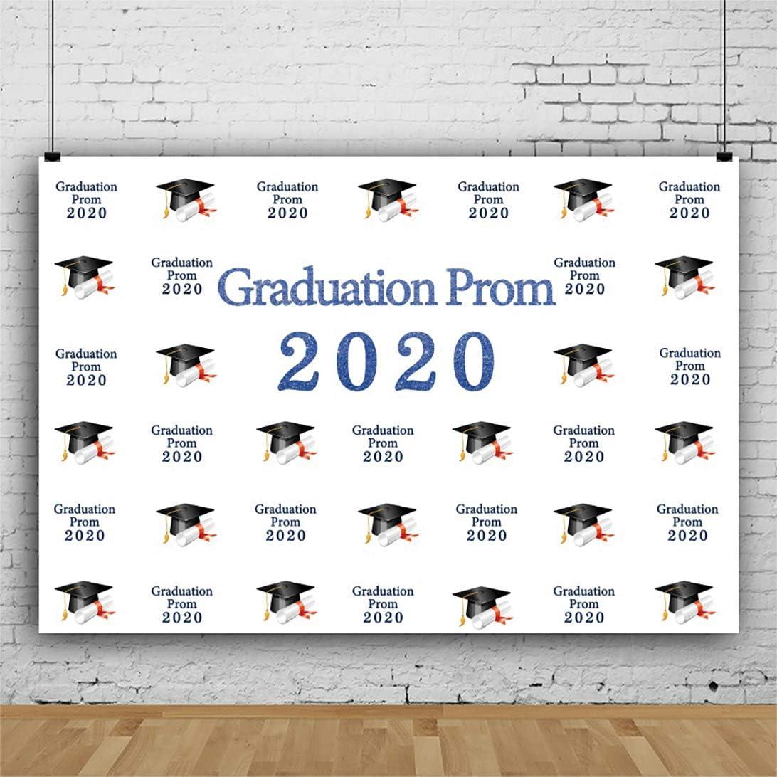 YongFoto 12x8ft Graduation Prom 2020 Photography Background Black Trencher Caps Pattern Degree Paper Graduation Season Backdrop Grad Prom Theme Party Banner Interior Decor Wallpaper Photoshoot Props