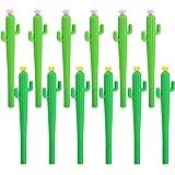 TOODOO Cactus Shaped Rollerball Pen Cute Creative 0.5 mm Black Ink Gel Pens (12 Pieces)
