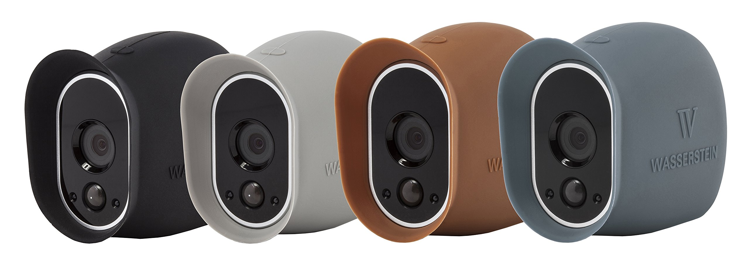 4 x Silicone Skins Compatible with Arlo Smart Security - 100% Wire-Free Cameras — by Wasserstein (Black/Brown/Grey/Blue) by Wasserstein