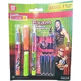 Camlin Kokuyo Exam Cartridge Fountain Pen, Pack of 3 with 10 Cartridges (Multicolor)