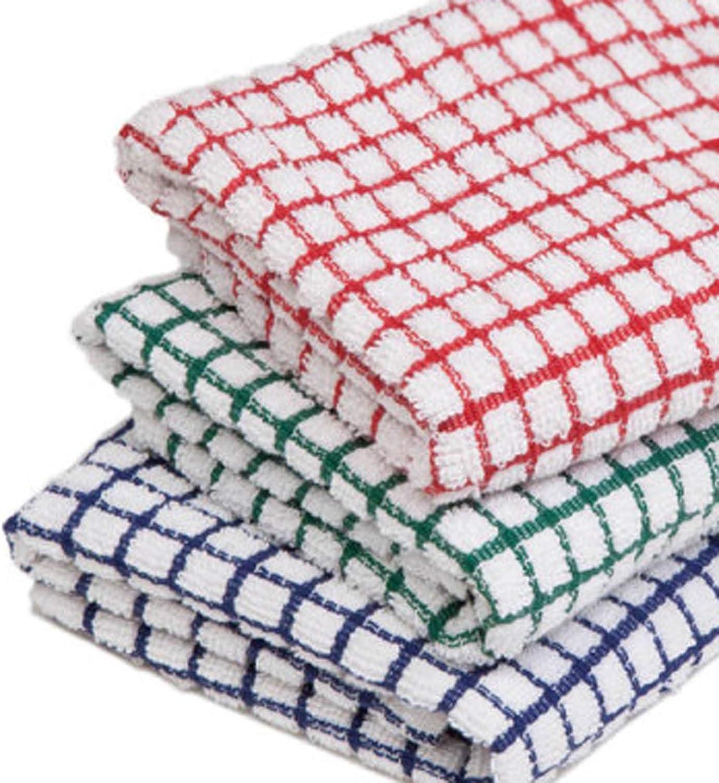 MAS International Ltd Lot de 3 torchons /à Carreaux en /éponge 100/% Coton Absorbant Couleurs Assorties