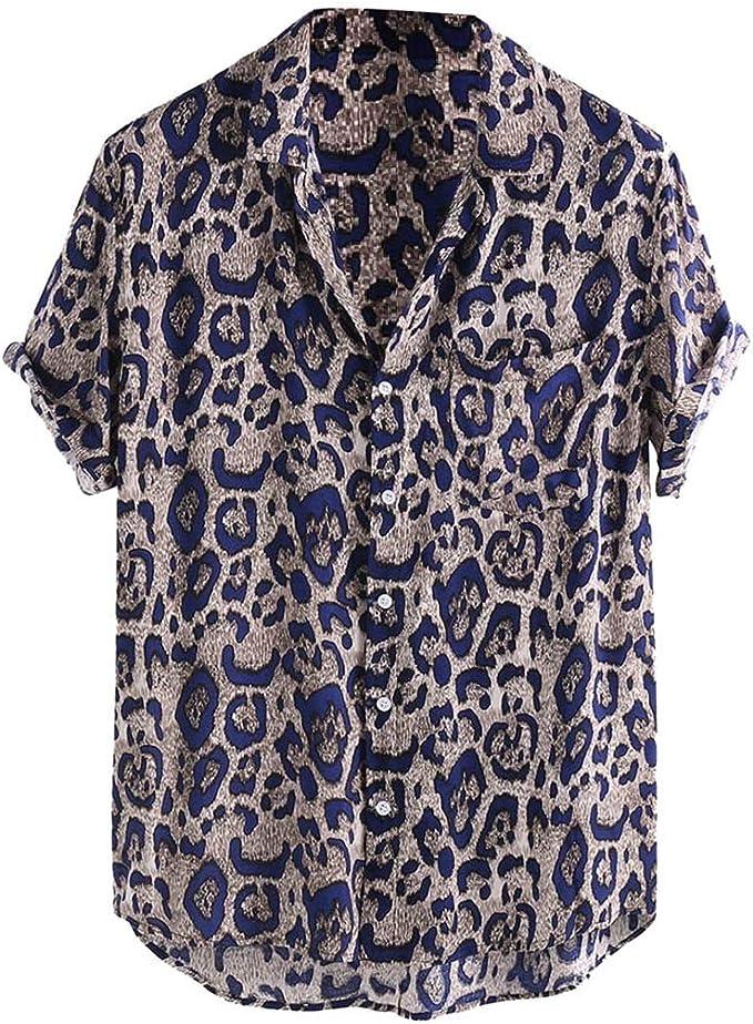 VJGOAL - Camisa de Manga Corta para Hombre, diseño de Leopardo ...