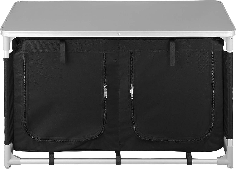 Patas Ajustables Bolsa de Transporte Varios Modelos Aluminio Plegable para Exteriores Incl Compartimentos TecTake 800747 Cocina de Camping Negro