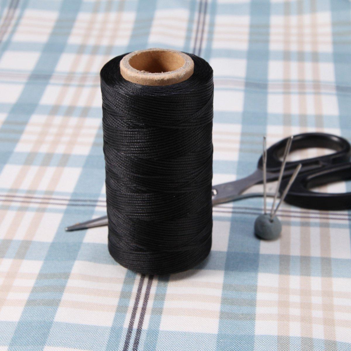 AKORD Canvas N/ähen gewachst Flachgarn f/ür Lederhandwerk DIY Polyester schwarz 10,3 x 5 x 5 cm