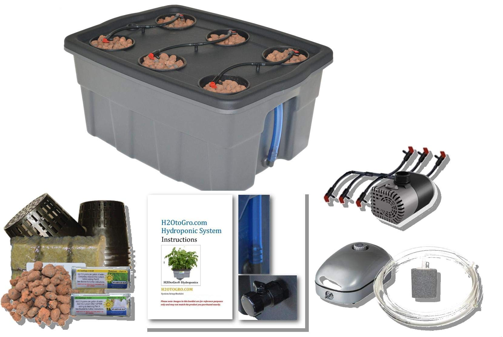 Complete Hydroponic System Self-Watering DWC Bubbler Kit # 4-6 H2OtoGro by H2OToGro