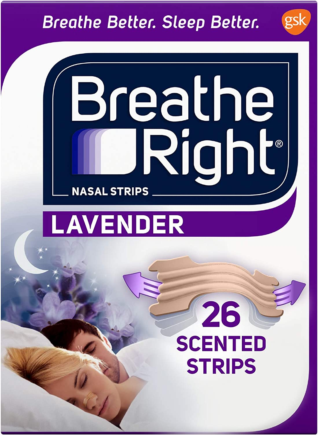 Breathe Right Nasal Strips to Stop Snoring, Drug-Free, Calming Lavender, 26 Count (Pack of 1): Health & Personal Care