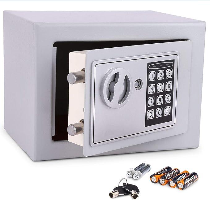 Meykey Caja Fuerte Electrónica Caja Seguridad 230X170X170 mm, Plateado: Amazon.es: Bricolaje y herramientas