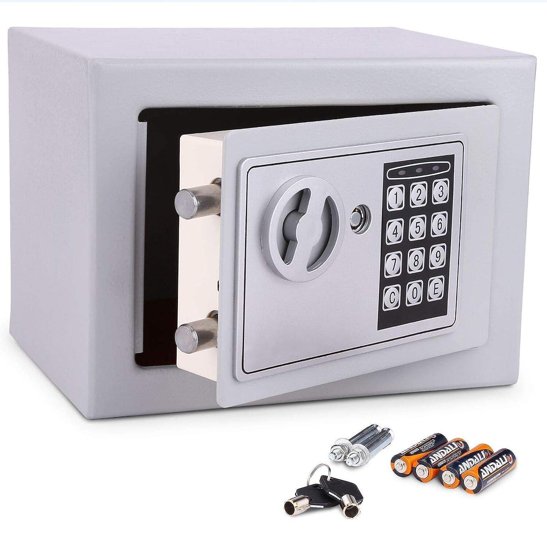 Meykey Coffre fort de Securite Électronique 23×17×17cm, Coffre-fort Numérique avec 4 Piles, Noir