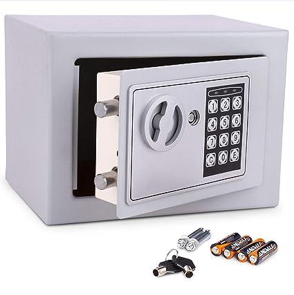 Meykey Caja Fuerte Electrónica Caja Seguridad 230X170X170 mm, Plateado