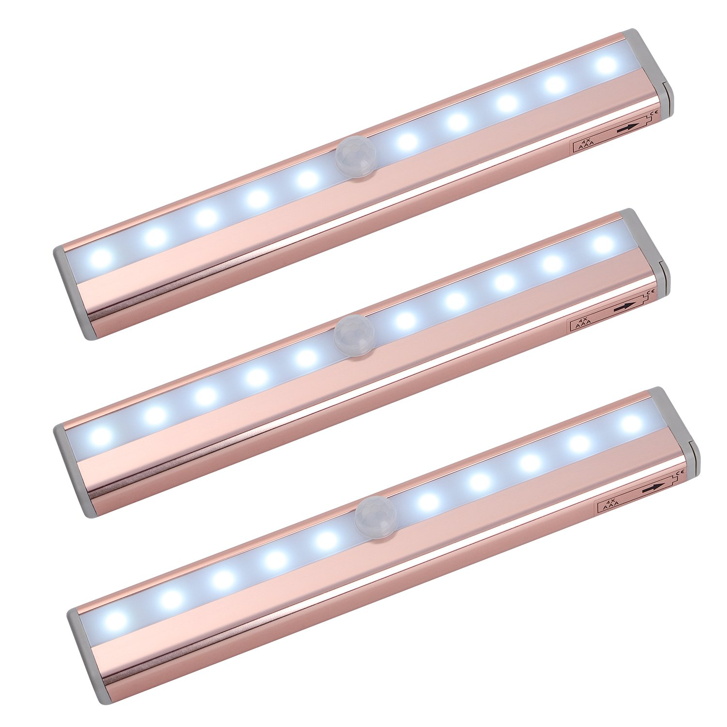 zoeson 10 LED 3-Pack Motion Sensing Closet Light Under Cabinet Light (Rosegold with Cool Colors) (3)