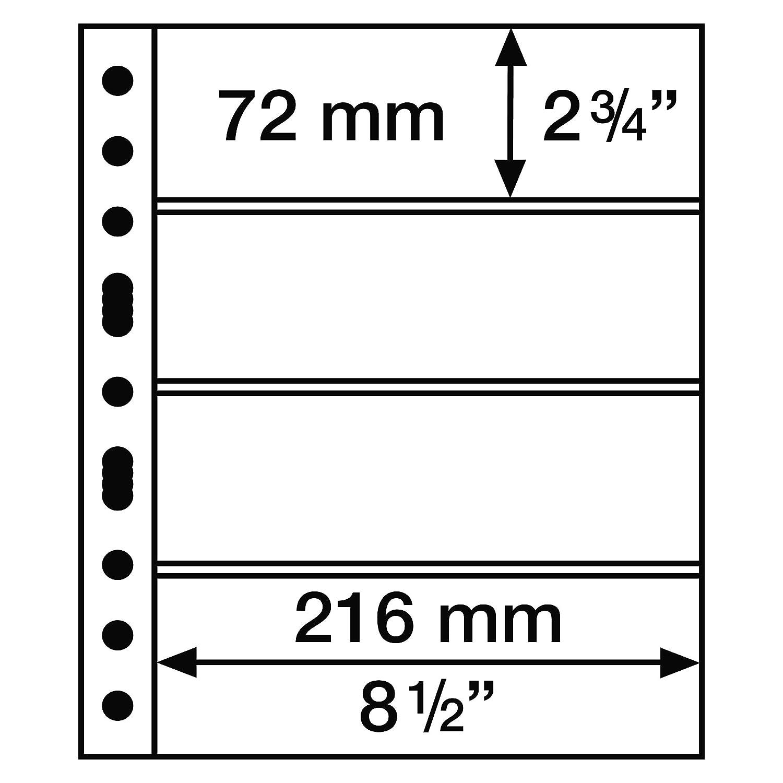 con 4 Bandas horizontales Leuchtturm 312682 Hojas de pl/ástico Grande Negras