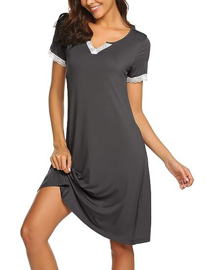 timeless design c9835 a02be MAXMODA Nachthemd Damen Kurzarm Nachtwäsche Baumwolle Schlafshirt  Nachtkleid Negligee Sexy Sleepshirt S-XXL