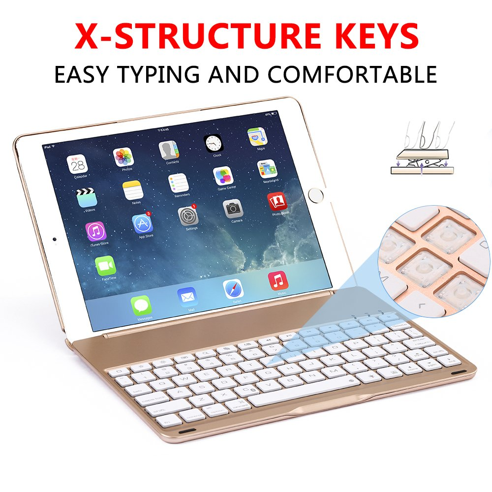 Ipad Pro 9.7 Keyboard Case, NOVT Aluminum Alloy Ultra Thin Smart Bluetooth Wireless Keyboard 7 Color Led Backlit with Protective Case Cover Stand Auto Sleep/Wake for Apple iPad Pro 9.7 Inch (Gold) by NOVT (Image #2)