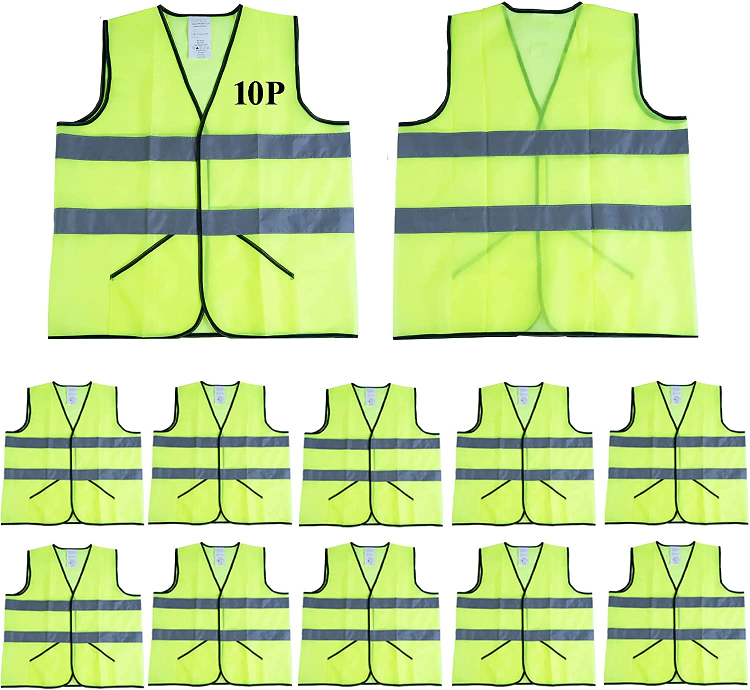 CIMC,Pockets Yellow Reflective Safety Vest,10 pack,High Visibility Safety Vest with 2 Inch Hi Vis Sliver Strip,Neon Yellow Breathable Mesh,Construction Working Vest outdoor for man,woman (neon yellow): Home Improvement