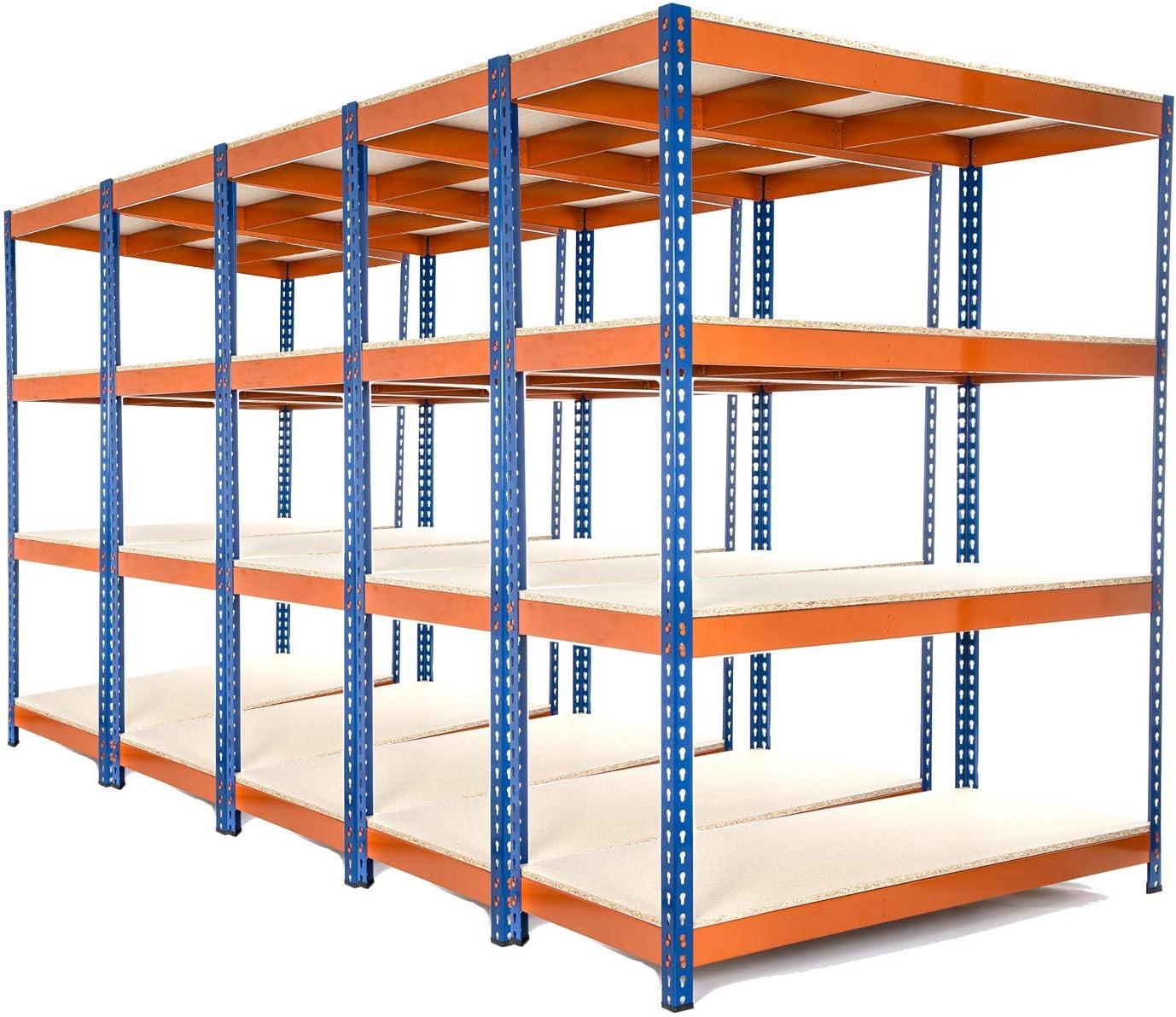 con 8 cajas de almacenamiento transparentes de 24 litros Estanter/ía de acero galvanizado para garaje 1800 mm de alto x 900 mm de ancho x 400 mm de profundidad