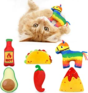 6 Pack Avocado Taco Chili Nacho Catnip Toys Dental Health Cat Toys Interactive Cat Toys for Indoor Cats Kitten Toy Cat Chew Toy Catnip Toys for Cats Gift for Cat Lovers Indoor Boredom Relief Supplies