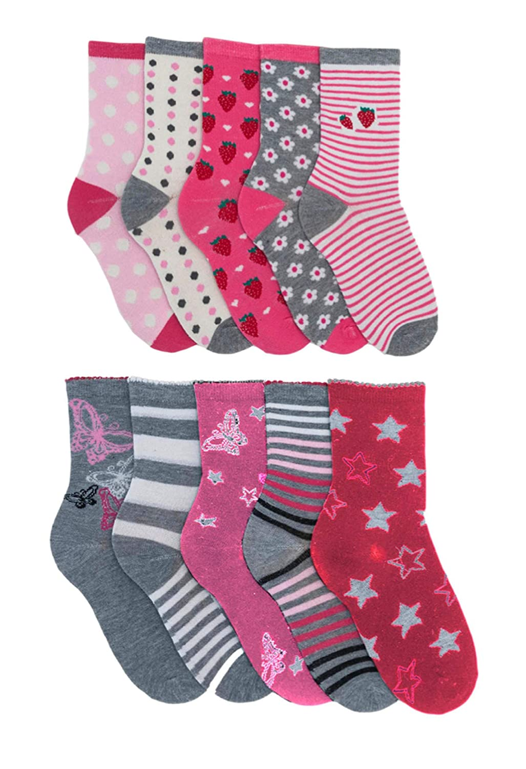 Girls 10 pack Cotton Rich Ankle Socks - Pink and Grey