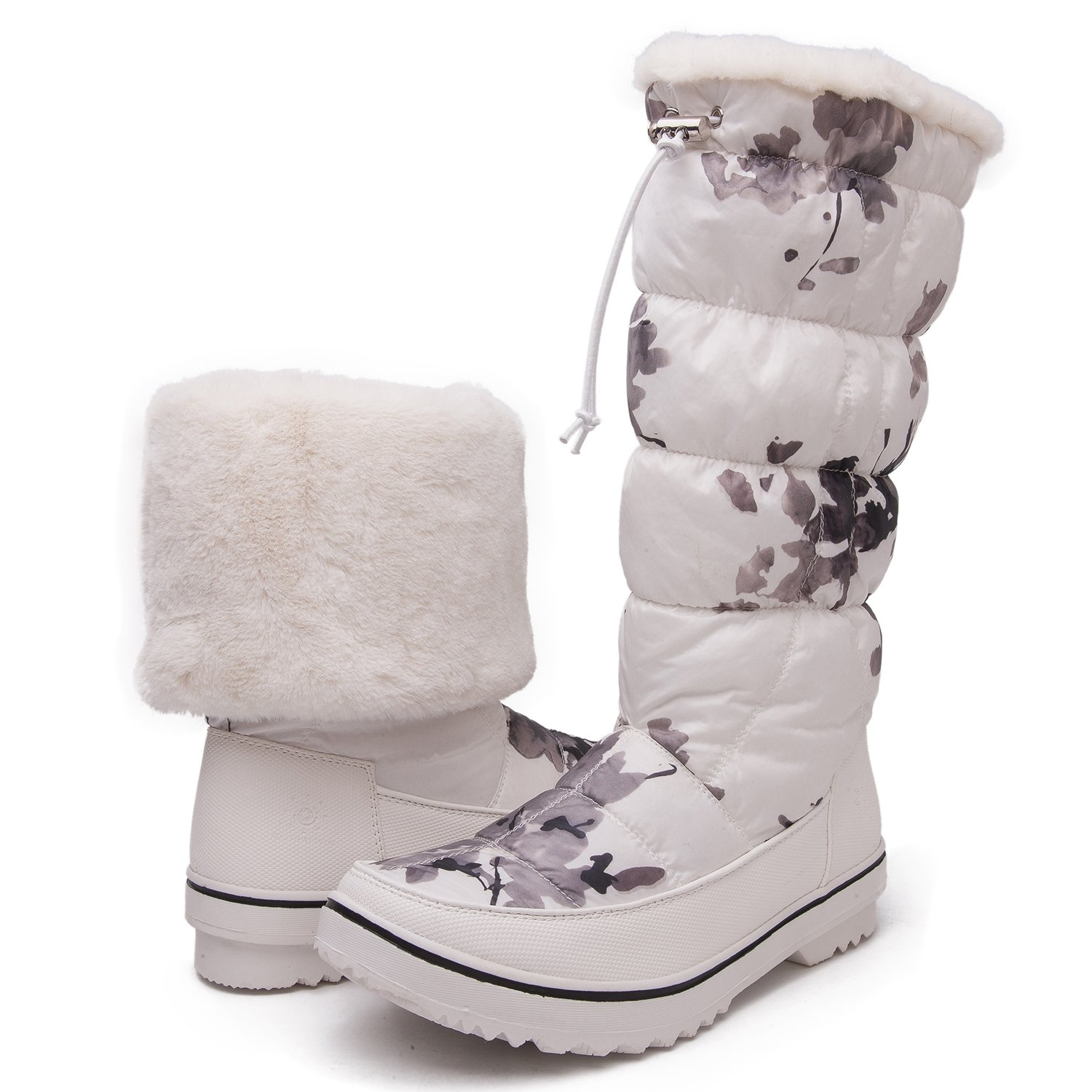 GW Women's 1713 White Camouflage Snow Boots 9 M US by Global Win (Image #1)