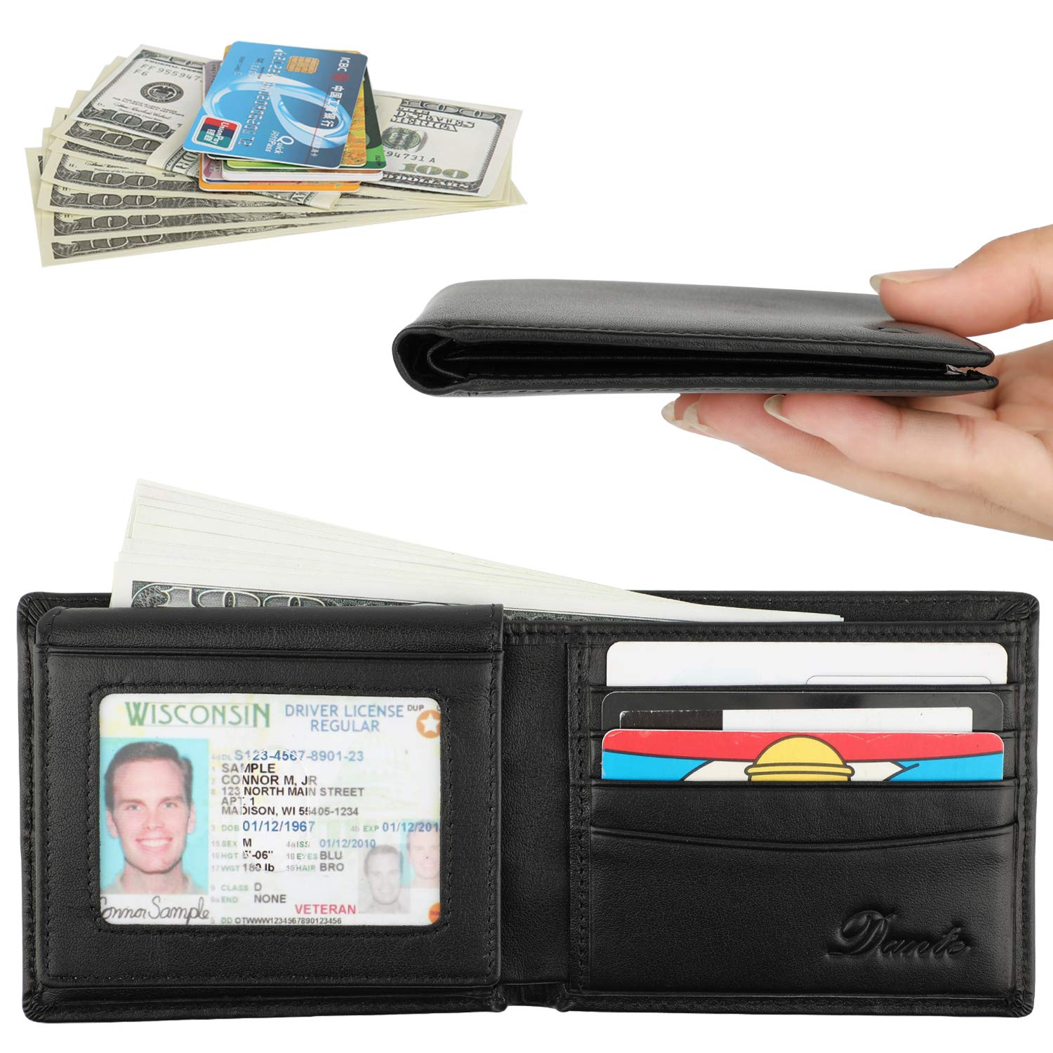 Dante RFID Blocking Cowhide Leather Bifold Wallet for Men with 2 ID