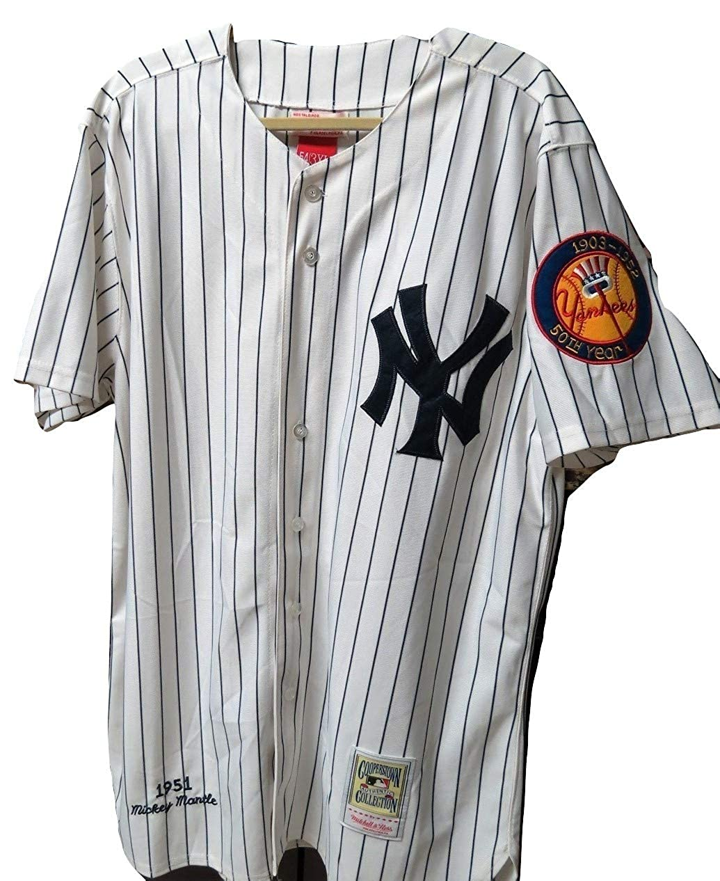 Amazon.com  Mitchell   Ness 50th Year New York Yankees Authentic 1951  Mickey Mantle Home Jersey Cooperstown 3XL-54  Clothing 1157df700e4