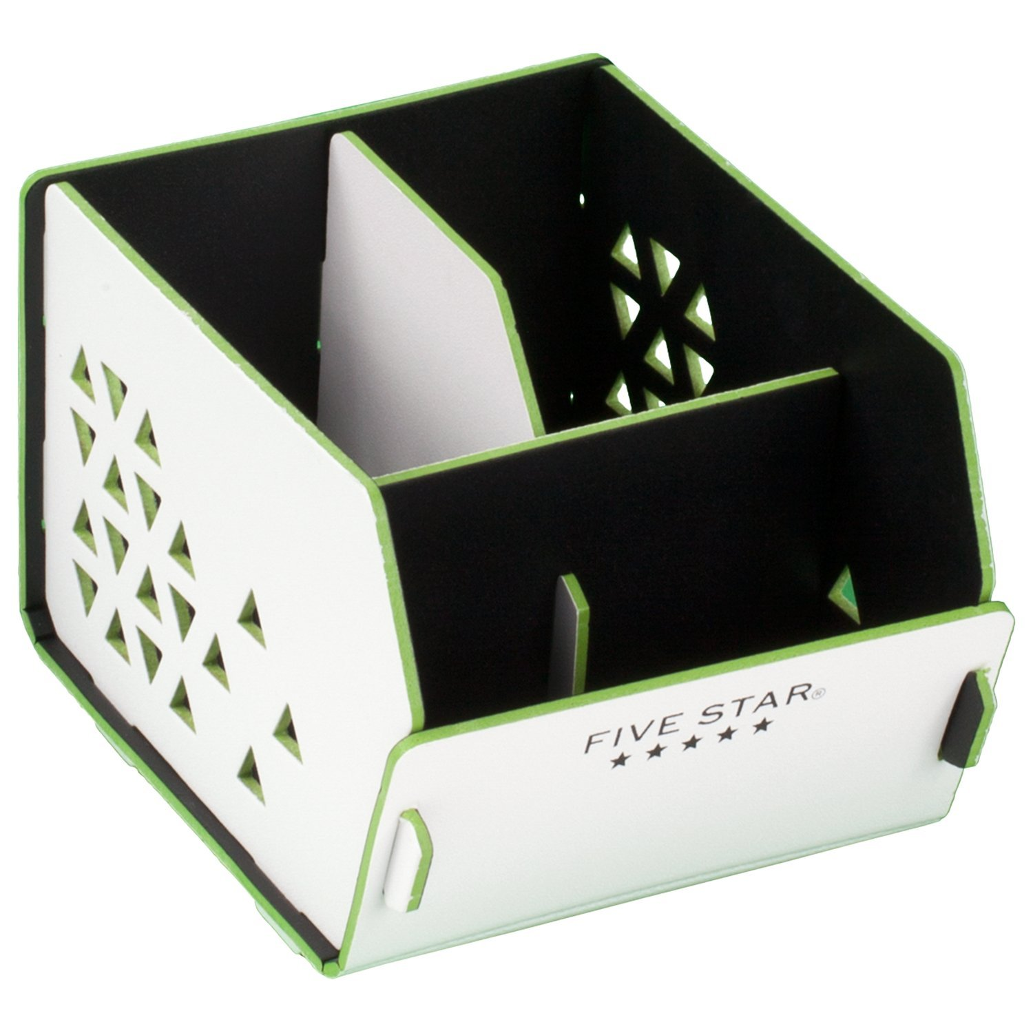 Five Star Desk Organizer, 3 Compartments, Caddy, White / Lime (73678)
