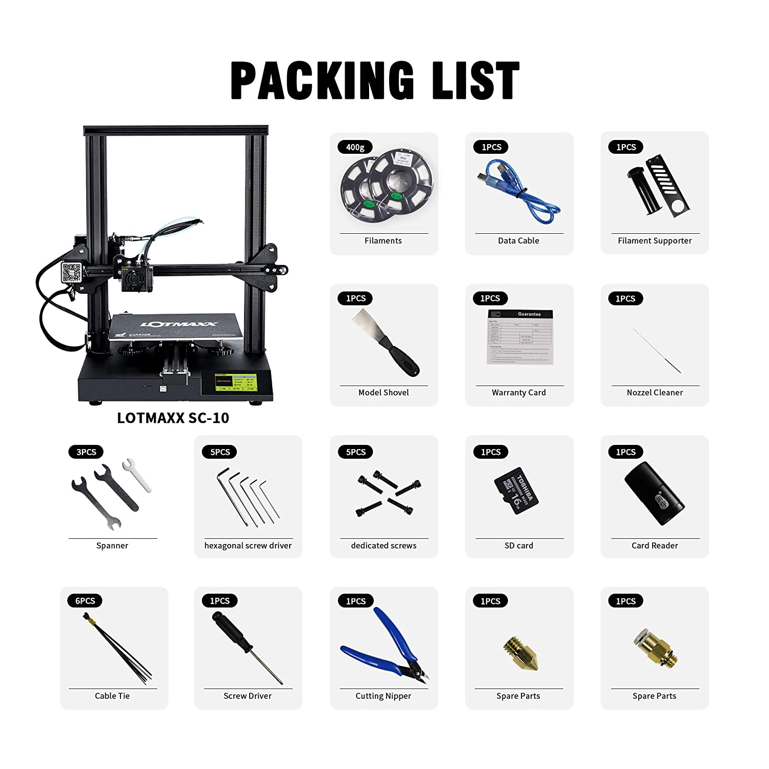 """LOTMAXX SC-10 3D Printer with Removable Build Surface Plate Mute Printing,Resume Print,3.5/"""" LCD Screen Supply Build Volume 235x235x280mm"""