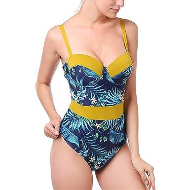 d705db6d353 Women s V Neck Strappy Palm Leaves One Piece Swimsuit Color Block Bikini  Tummy Control Retro Monokini Bathing Suit Plus Size