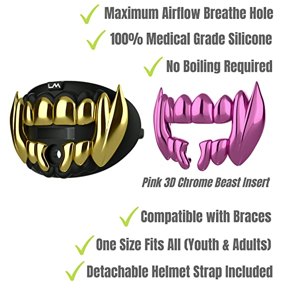 Loudmouth Football Mouth Guard | 3D Beast Chrome Adult and Youth Mouth Guard | Mouth Piece for Sports | Maximum Air Flow Mouth Guards