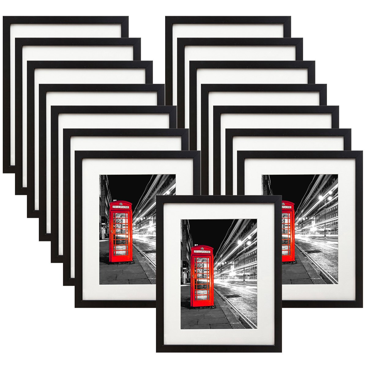 15 Pack - 11x14 Black Picture Frame - Made to Display Pictures 8x10 with Mat or 11x14 Without Mat - Wide Molding - Wall Mounting Material Included