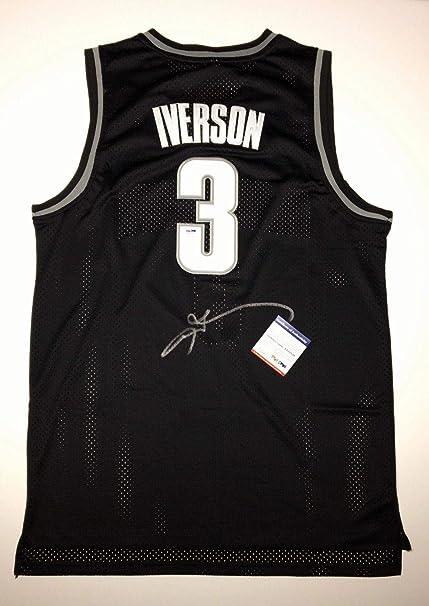 hot sale online b74a0 e3a12 Allen IversonSigned Georgetown Hoyas Basketball Jersey ...