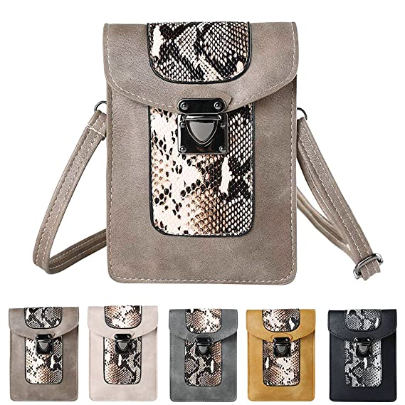 Vertical Snake Skin Compact Crossbody Wallet Purse Case for Motorola Moto G5/G5 Plus/