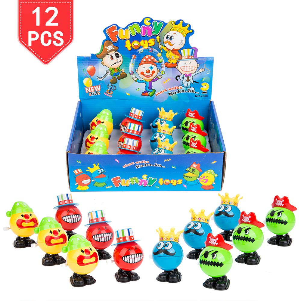 PROLOSO 12 Pack Wind up Toys Clockwork King Clown Magician Pirate Hopping Chattering Playset