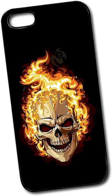 Aina - Carcasa para iPhone 5 y 5s, diseño de calavera en llamas ...