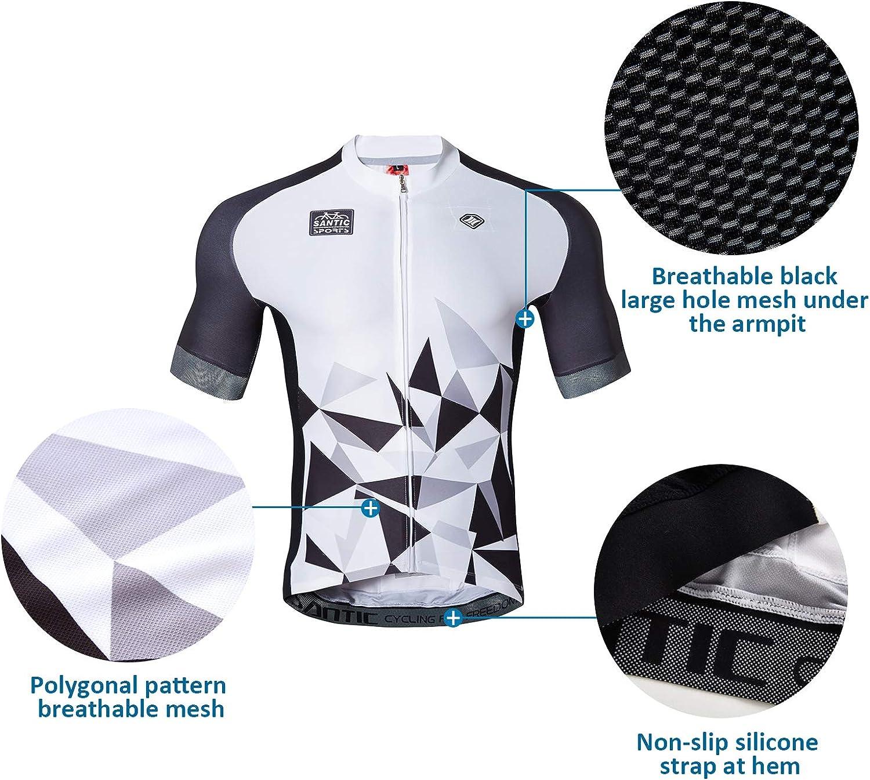 Santic Cycling Jerseys Men's Short Sleeve Bike Shirts Full Zip Bicycle Jacket with Pockets : Clothing