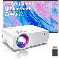 Mini Beamer WiFi-Projector, ABOX Draadloze Projector, 6000 Lux ondersteunt 1080P Full HD Video Beamer, 70000 uur LCD…