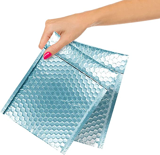 Blue Poly Bubble mailers 6.5 x 9 Padded envelopes 6 12 x 9 Exterior Size 7.5 x 9. Pack of 25 Poly Cushion envelopes