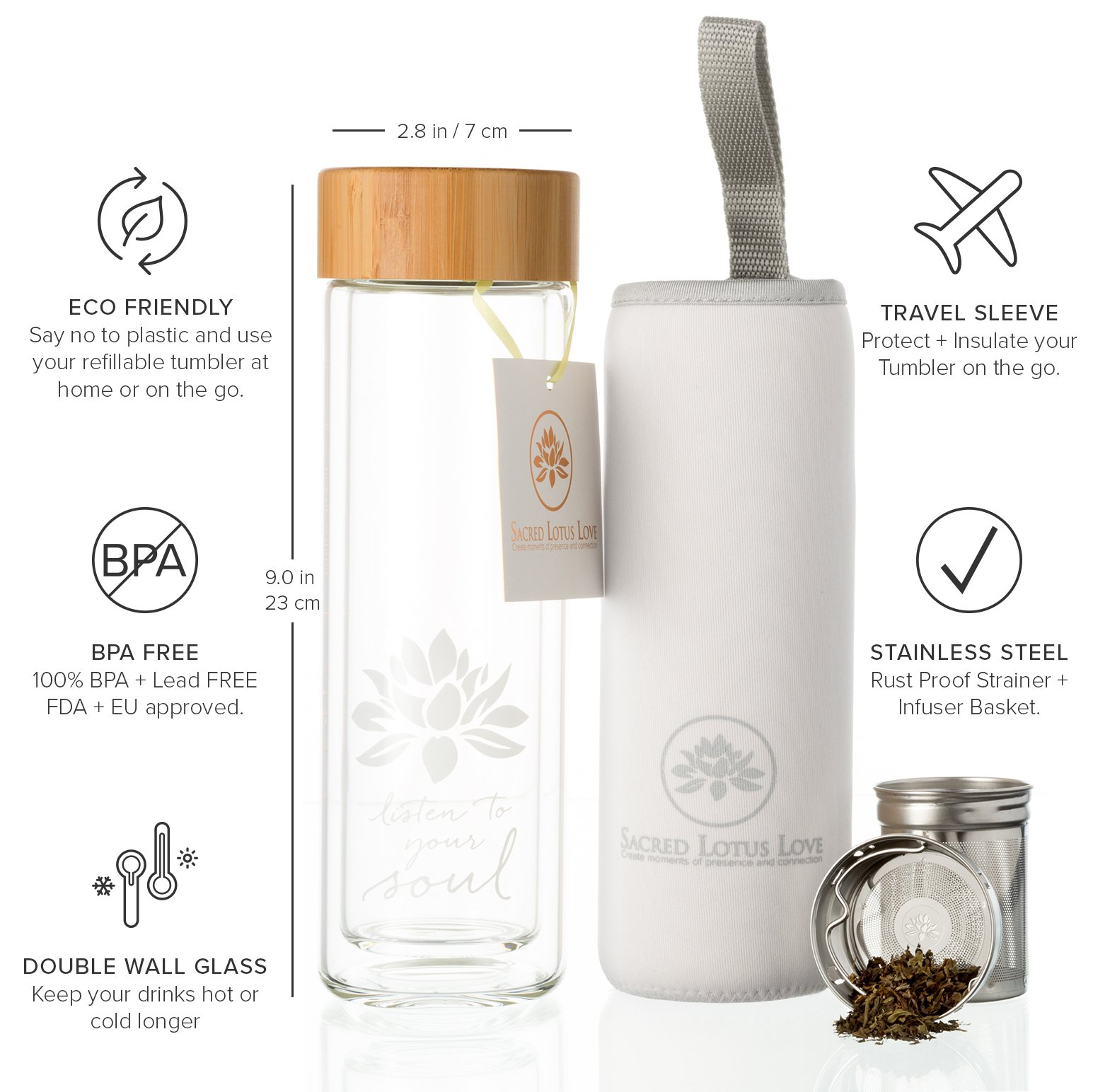 The Lotus Glass Tea Tumbler with Infuser + Strainer for Loose Leaf Tea, Coffee and Fruit Water. Inc Travel Sleeve. 15oz Bottle with Bamboo Lid. Perfect Gift. Soulful Design. Beautifully Packaged. by Sacred Lotus Love (Image #3)
