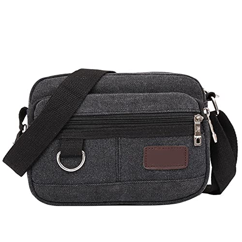 79368f12a6a61 Tomtopp Men Canvas Mini Messenger Bag Multi-Layer Shoulder Crossbody Bag (Black)