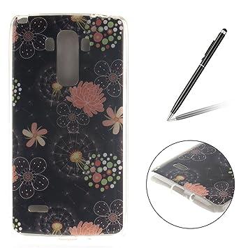 CaseHome Compatible For LG G4 Stylus/LG LS770[con Gratis Lápiz óptico Negro], Premium Gelgado TPU Suave Carcasa de Piel de Pubierta de Silicona ...