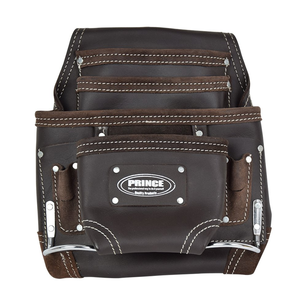 Prince P-2200-L Prince 10 Pocket Oil Tanned Leather Nail and Tool Pouch