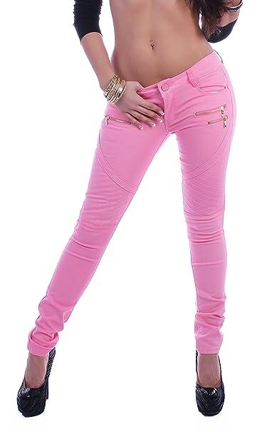 Mujer Jeans Pantalones Tubo cadera vaqueros Skinny – Pantalones vaqueros con cremallera en 6 colores rosa W29