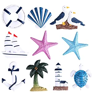 WINOMO 10pcs Fridge Magnets Cute Nautical Mediterranean Style Decor Wall Hanging Ornaments Refrigerator Magnets