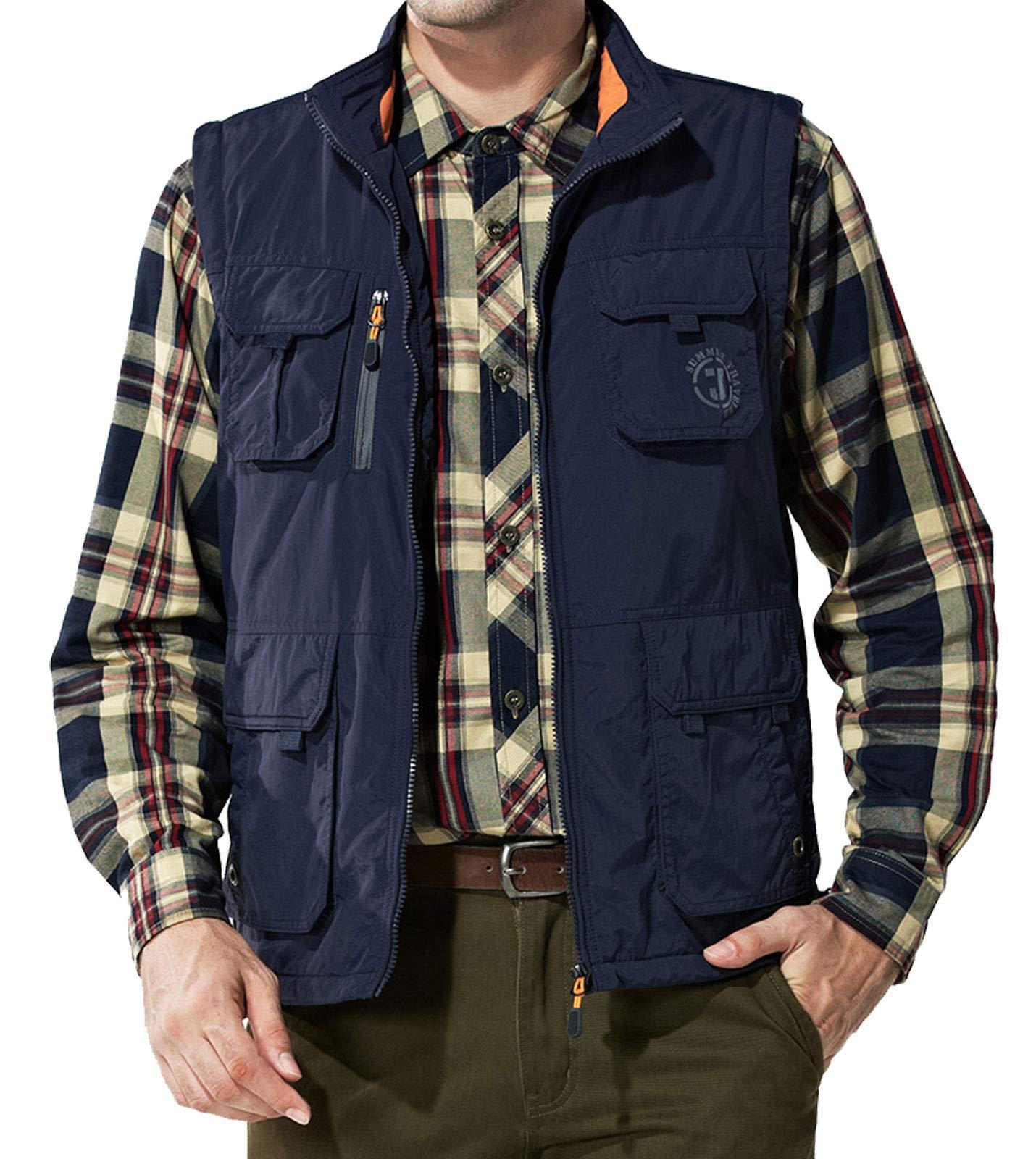 Flygo Men's Casual Lightweight Outdoor Travel Fishing Vest Jacket Multi Pockets (X-Large, Fleece Lined Navy) by Flygo