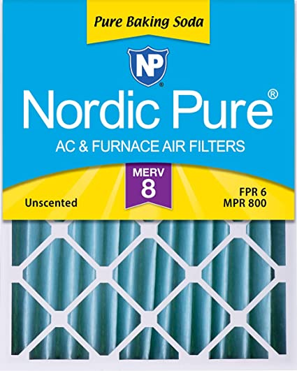 Nordic Pure 16x20x4 MERV 8 Pure Baking Soda Odor Reduction AC Furnace Air Filters 1 Pack