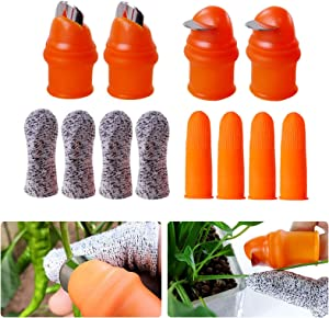 YBB 12 Pcs Gardening Silicone Thumb Knife Harvesting Tool, Separator Finger Plant Fruit Picking Knife Garden Tool (L)