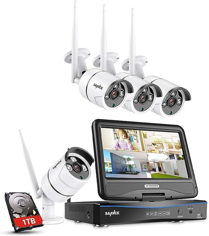 Sannce 8CH Wireless Système de Sécurité 1080P NVR avec HDD 1TB sans Fil et LED Ecran Moniteur 10,1 Intégré +4 IP Caméra WiFi de Surveillance 2MP,Résolution Accès à Distance